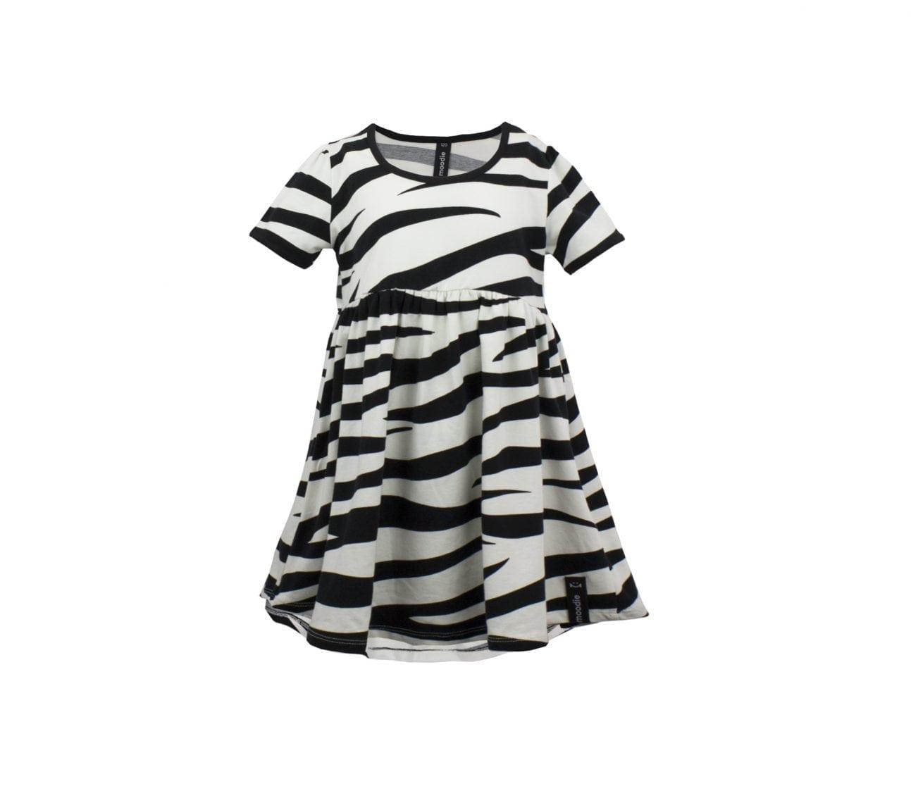 Klänning barn kortärmad svart/vit zebra mönstrad – Harley