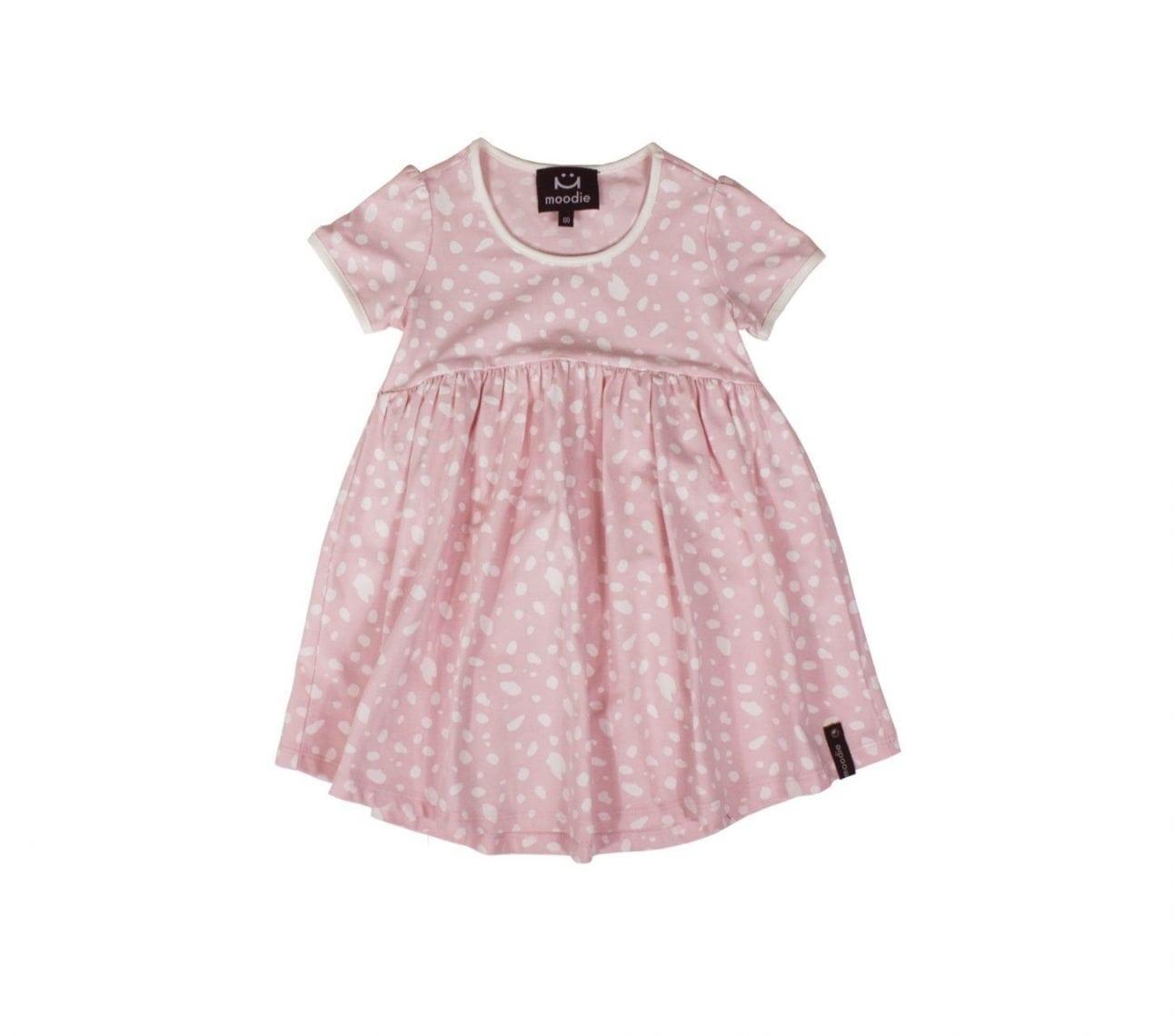 Klänning barn kortärmad rosa dalmatin mönstrad – Harley