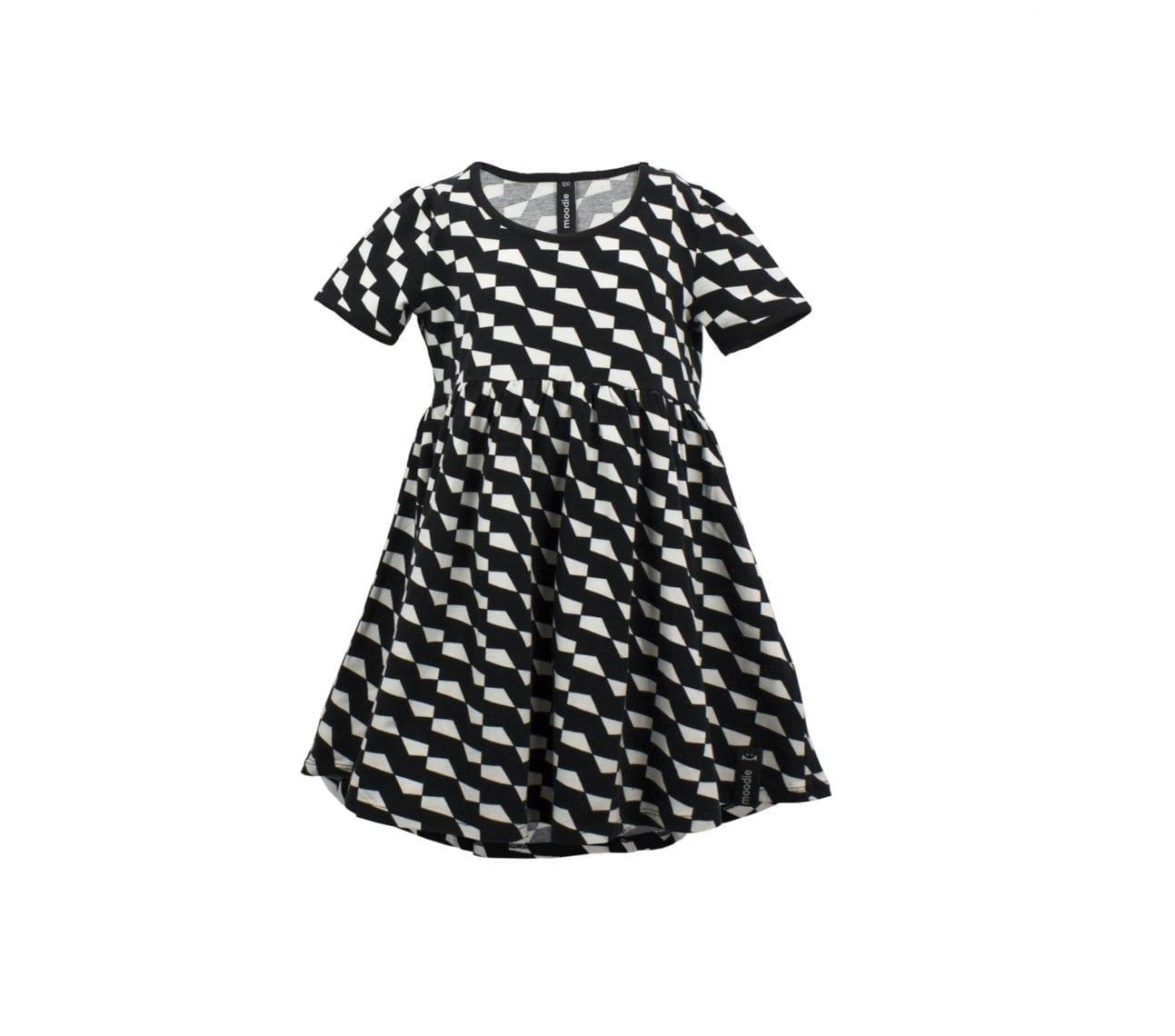 Klänning barn kortärmad svartvit mönstrad – Harley