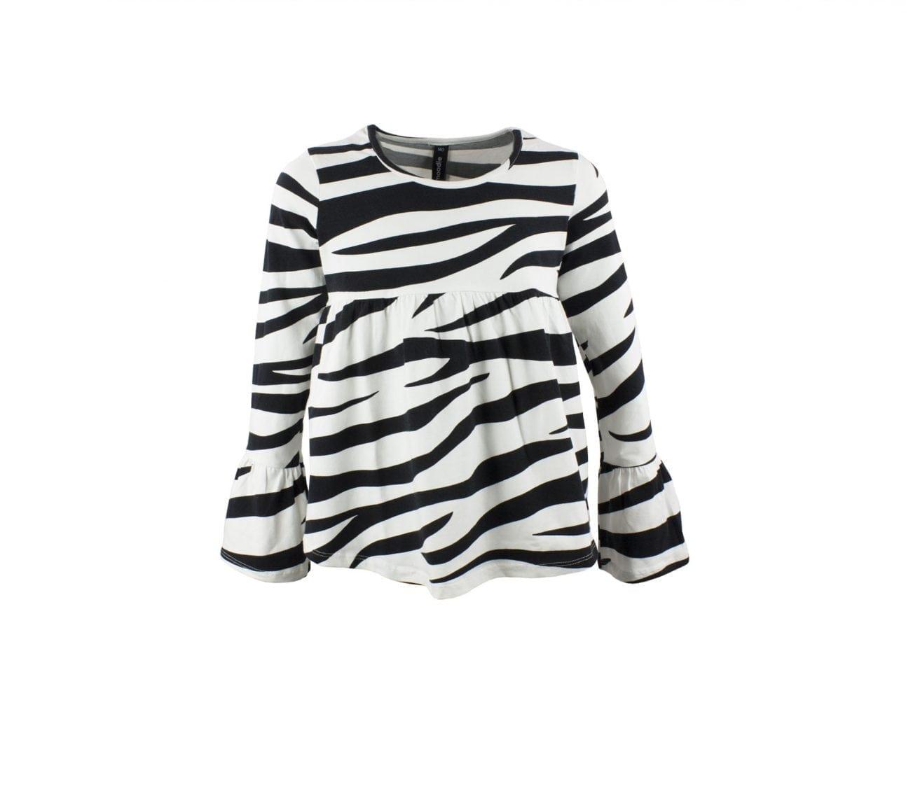 Topp barn zebra mönstrad med volang ärm  – Pepper