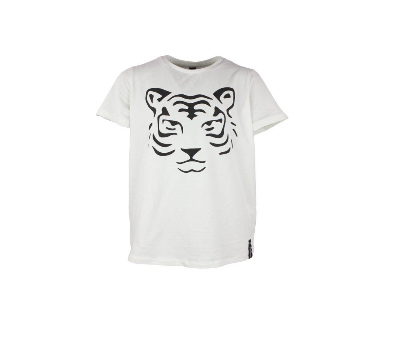 T-shirt barnvit med zip tiger – Austin