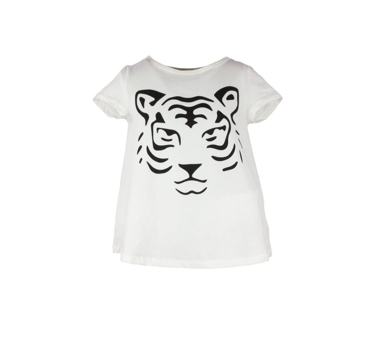 Topp barn kortärmad vit tiger – Dixie