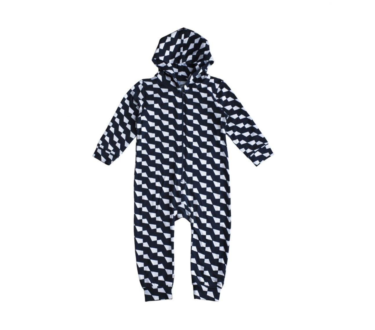Onepiece baby svart/vitgeometrisk – Lucky