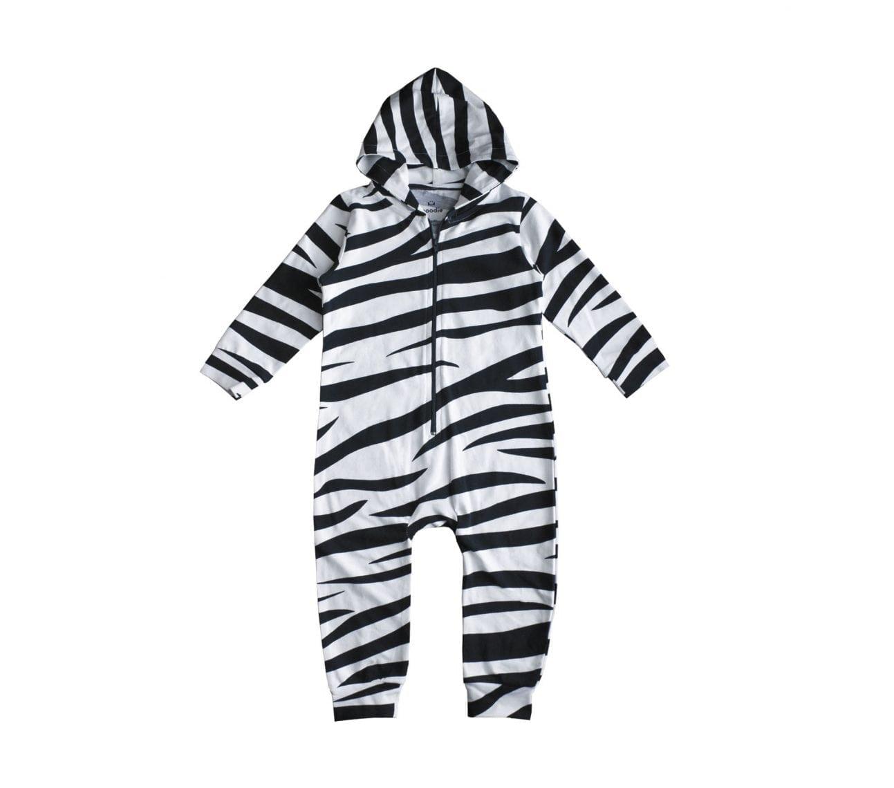 Onepiece baby svart/vitzebra – Lucky