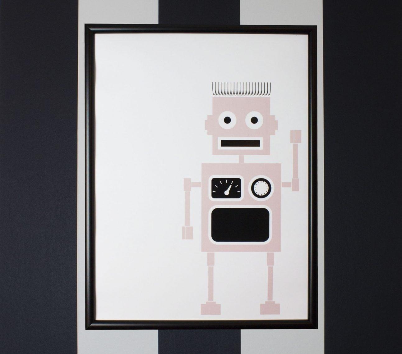 Poster robot rosa – affisch barnrum