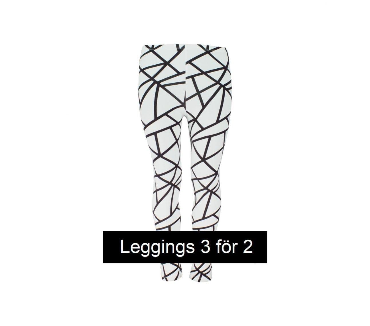 Leggings barn vit/svart geometriska- Cooper