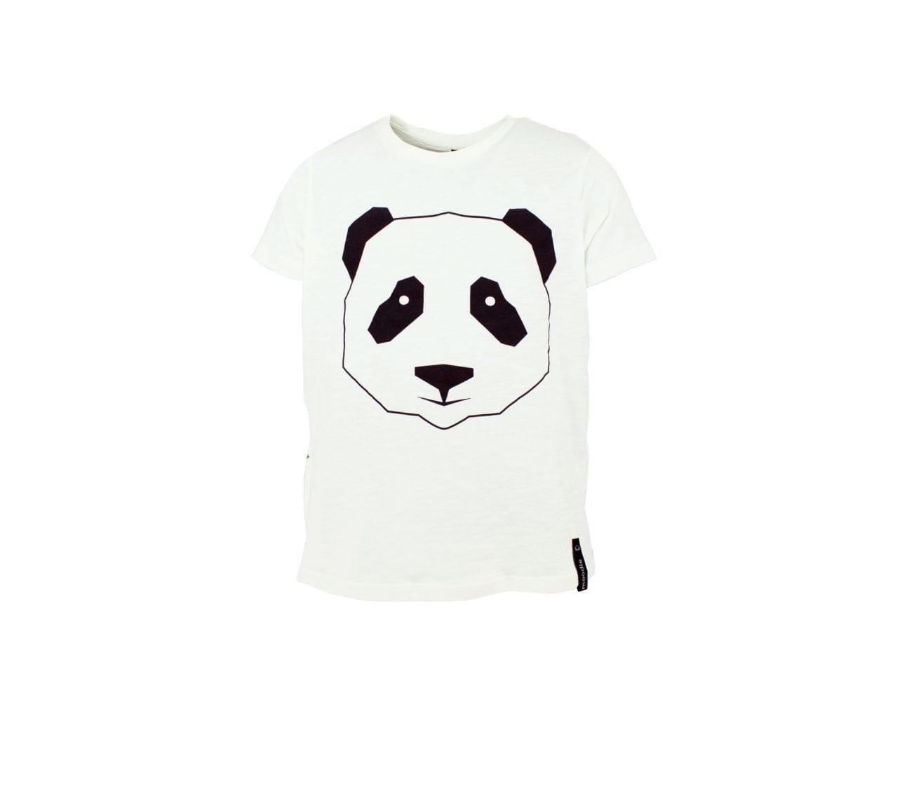T-shirt barnvit med zip panda- Marley