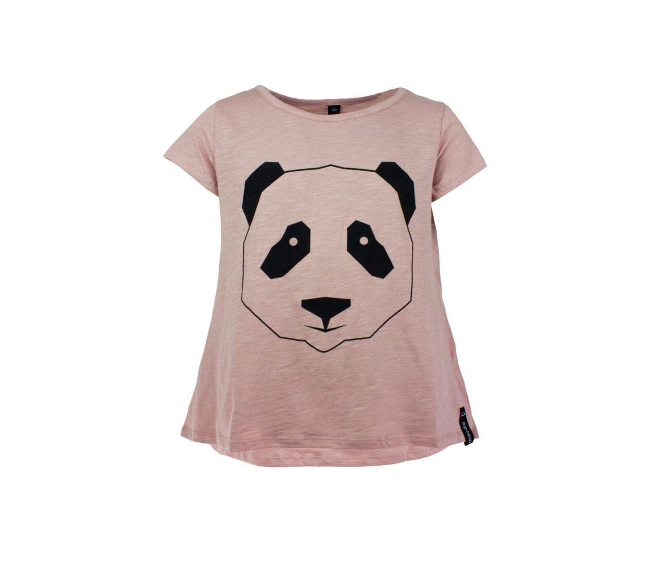 Topp barn kortärmadrosa panda – Mollie