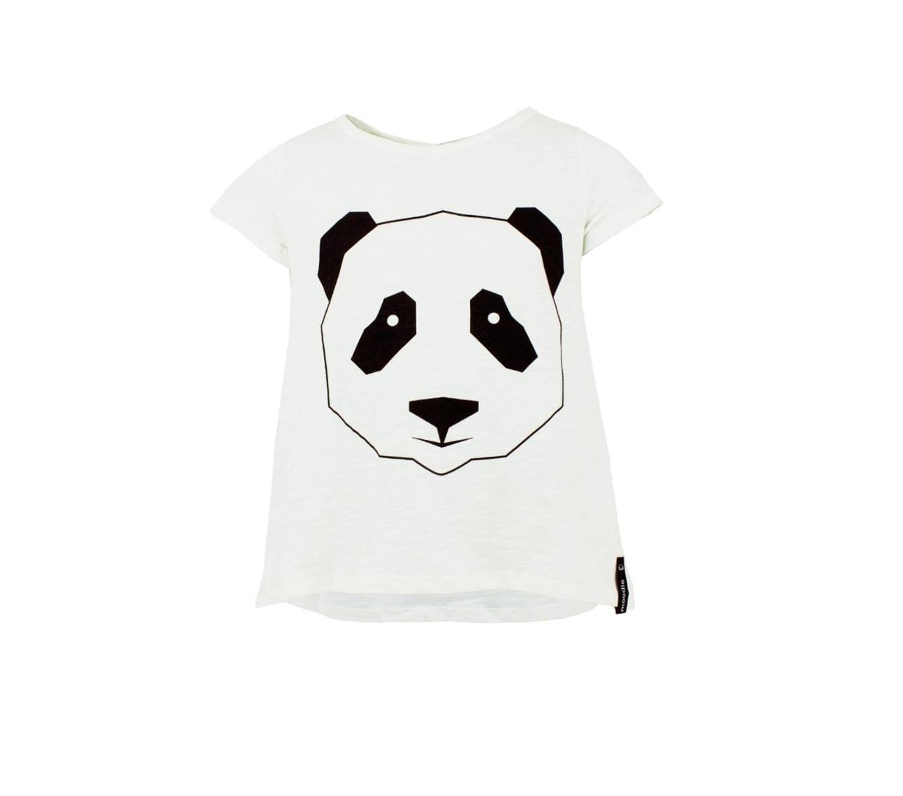 Topp barn kortärmadvit panda – Mollie