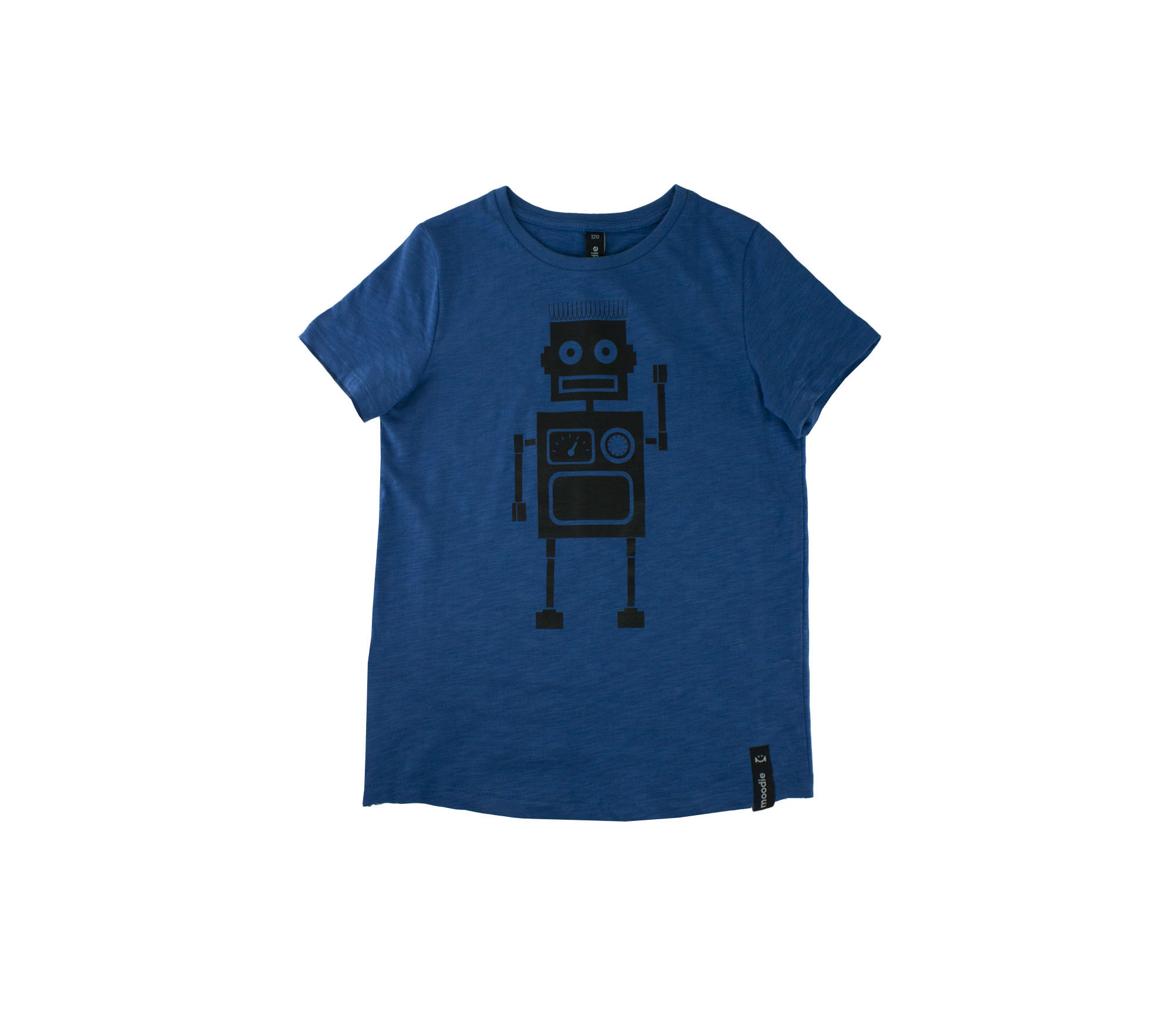 T-shirt barn blå med zip robot- Marley