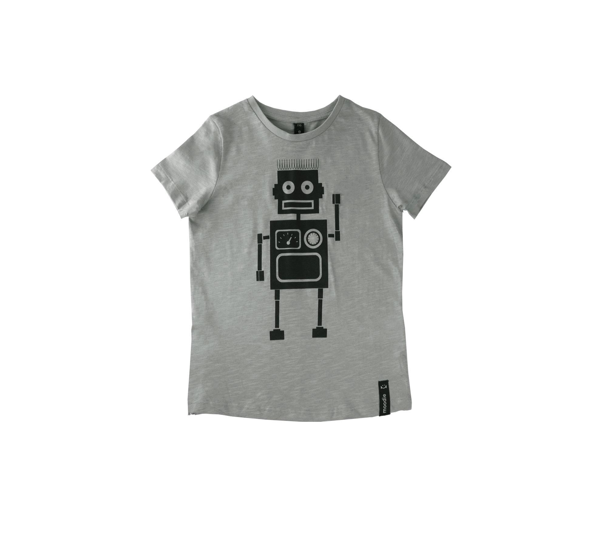 T-shirt barn grå med zip robot- Marley