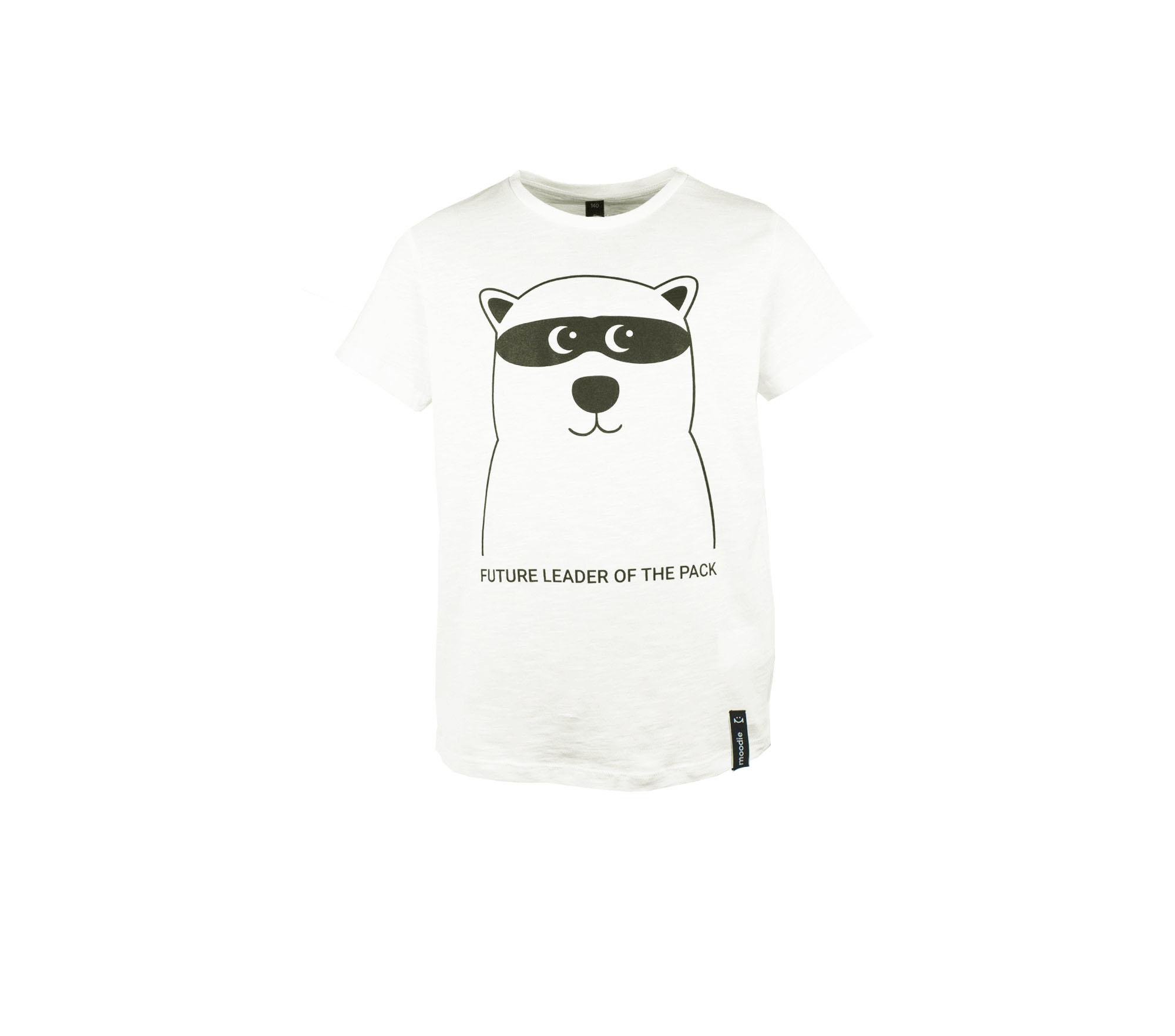 T-shirt barn vit med zip björn- Marley