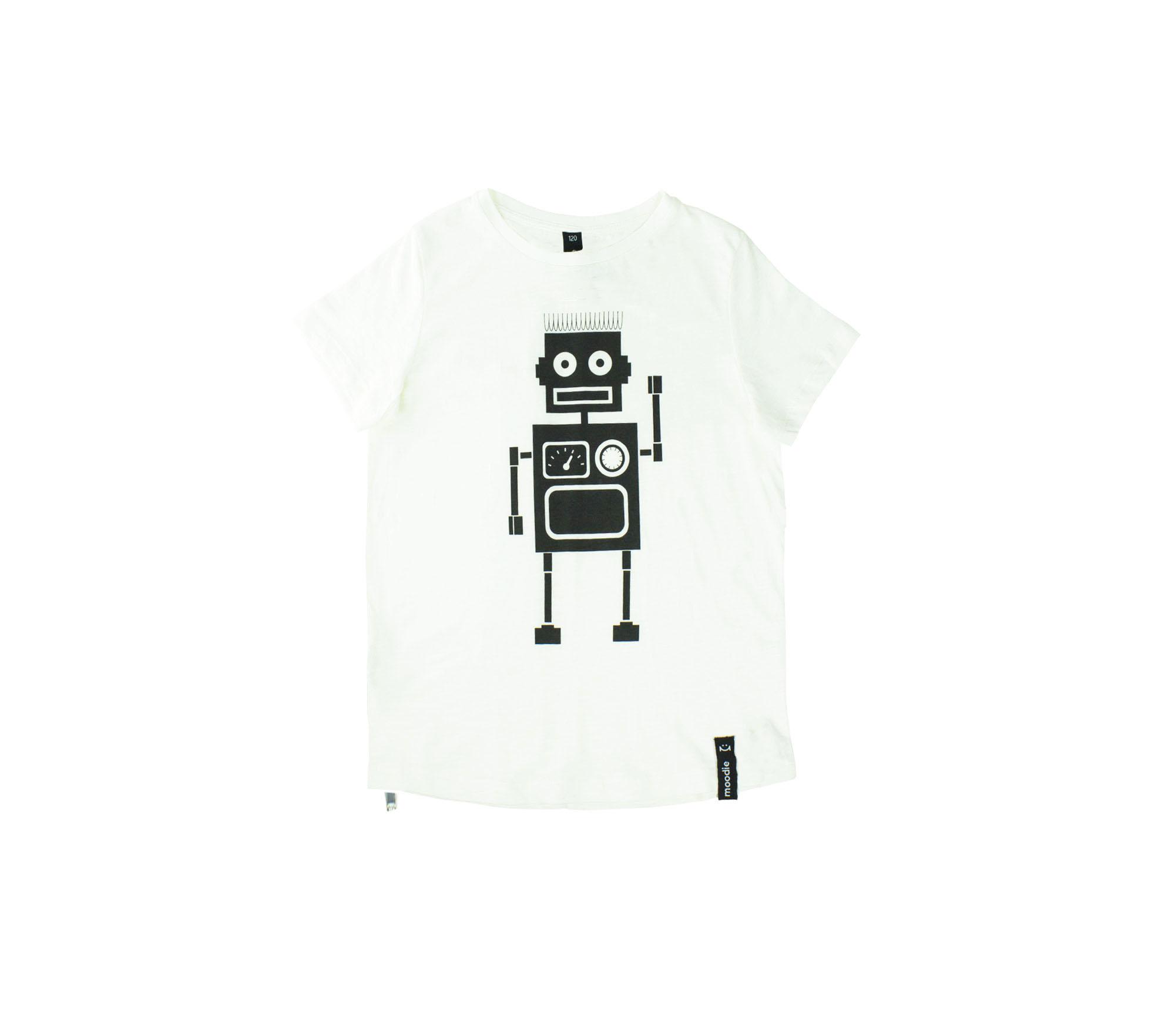 T-shirt barn vit med zip robot- Marley