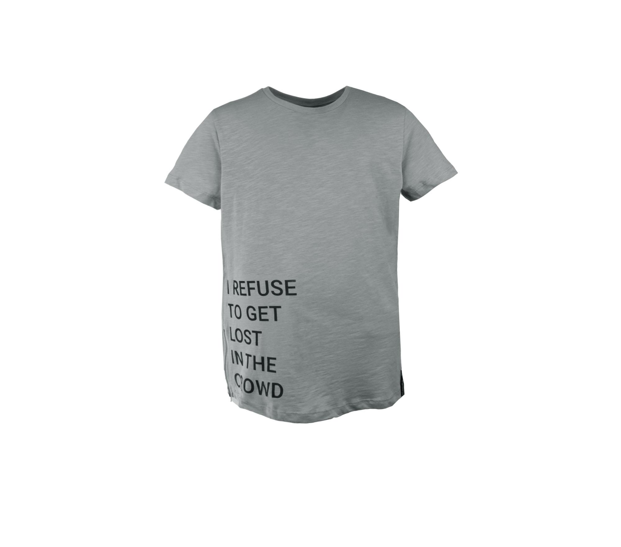 T-shirt barn grå med zip text- Marley