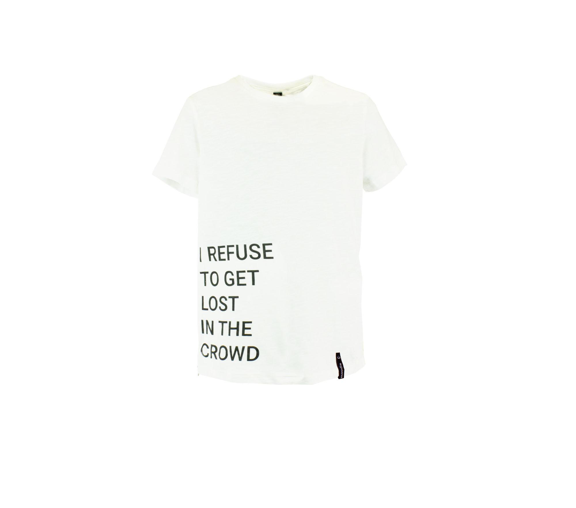T-shirt barn vit med zip text- Marley